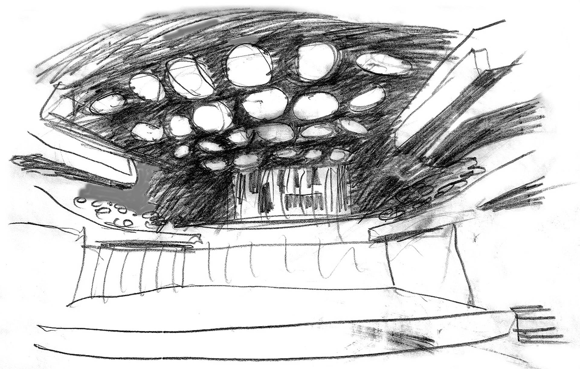 szkic koncepcyjny regulowanego reflektora akustycznego wSaliAudytoryjnej