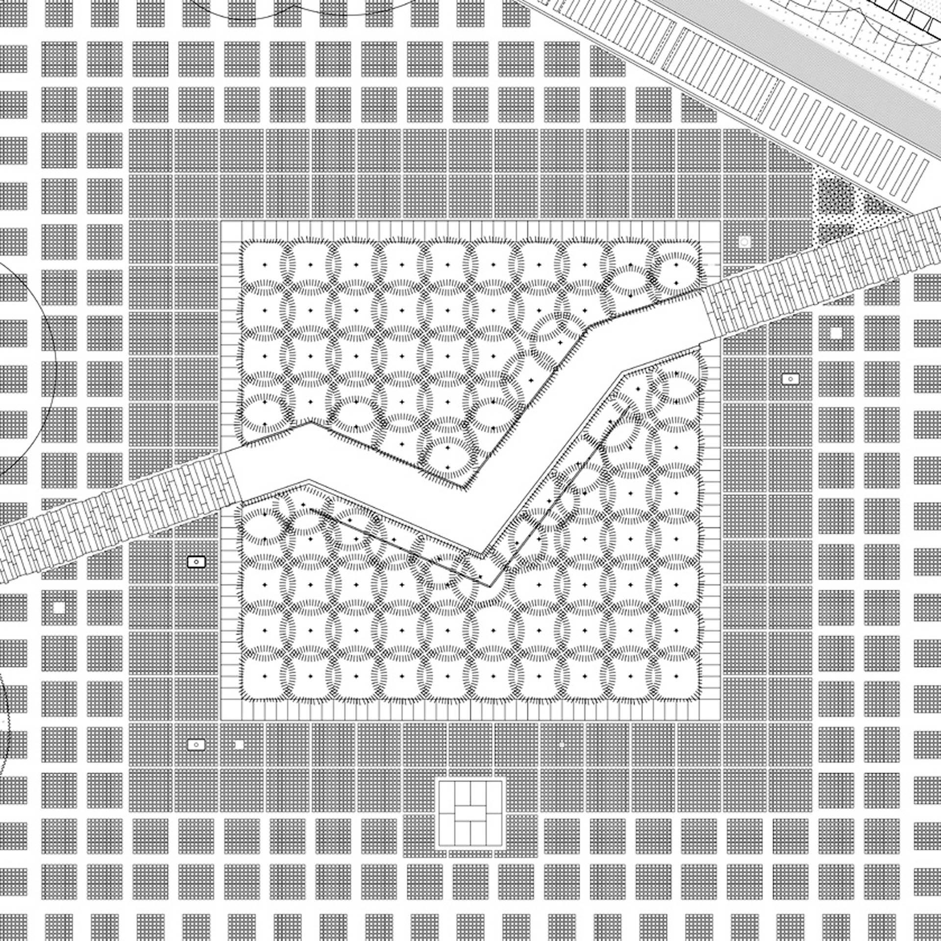 rzut symbolicznego Lasu Katyńskiego na placu apelowym
